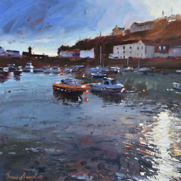 Jeremy Sanders Original Oil Painting Scene At Porthleven Cornwall